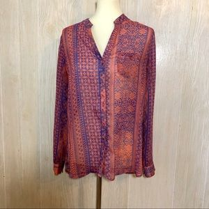 Kut From the Cloth Pink & Blue Semi Sheer Blouse